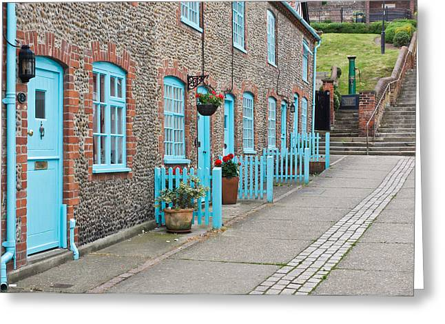 Aldeburgh Greeting Cards - Stone cottages Greeting Card by Tom Gowanlock