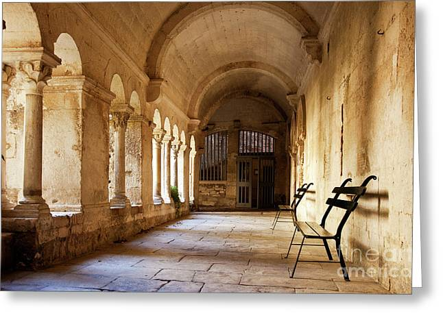 Saint-remy De Provence Greeting Cards - Stone Courtyard Greeting Card by Brian Jannsen