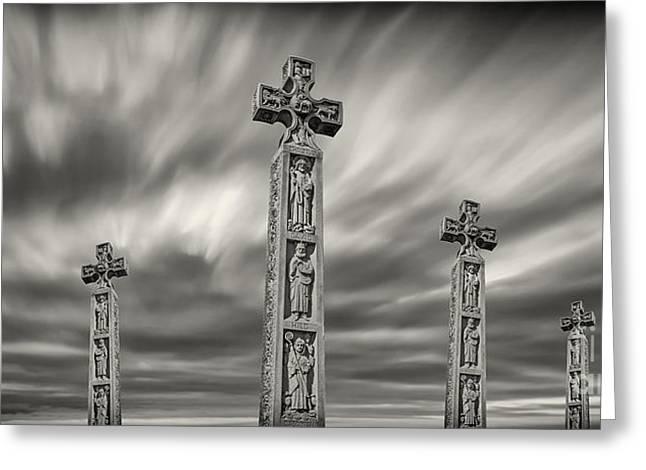 Sacred Bull Greeting Cards - Stone Crosses Greeting Card by Bahadir Yeniceri