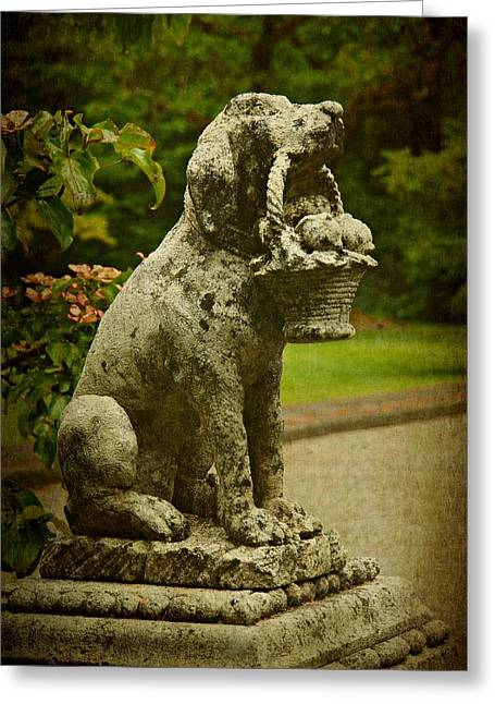Garden Statuary Greeting Cards - Stone Dog Statue Greeting Card by Patricia Strand