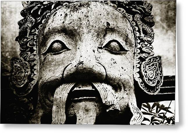Mustache Greeting Cards - Stone Face Greeting Card by Skip Nall