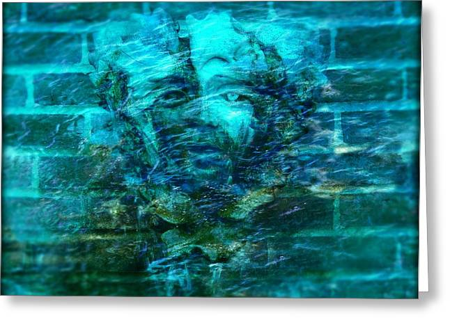 Fontain Greeting Cards - Stone Face Under the Water Greeting Card by Lilia D