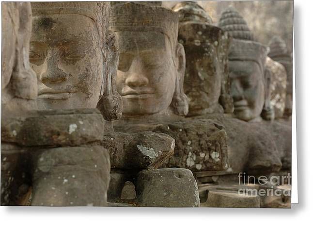 Ta Prohm Greeting Cards - Stone Figures Cambodia Greeting Card by Bob Christopher