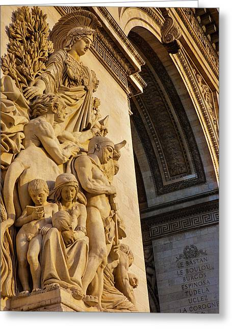 Stone Figures Carved On Arc De Greeting Card by Brian Jannsen