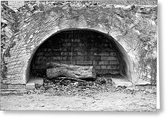 Arc Furnace Greeting Cards - Stone Fireplace Greeting Card by Andrew Chianese