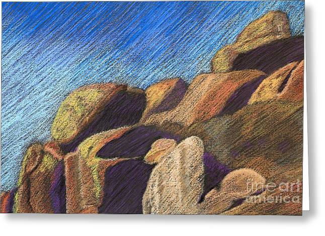 Formation Pastels Greeting Cards - Stone Formations Greeting Card by Pattie Calfy