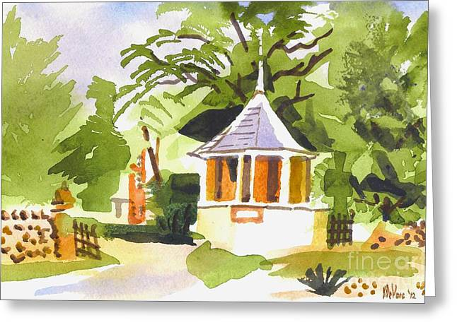 Watercolor Fairytale Greeting Cards - Stone Gazebo at The Maples Greeting Card by Kip DeVore