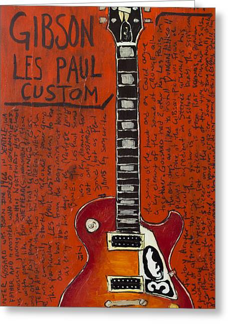 Stone Gossard Gibson Les Paul Greeting Card by Karl Haglund