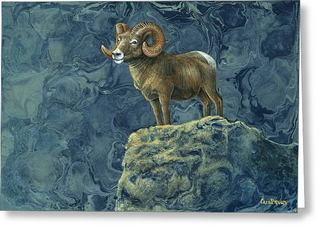 Rocky Mountain Sheep Greeting Cards - Stone Guardian Greeting Card by Cara Bevan