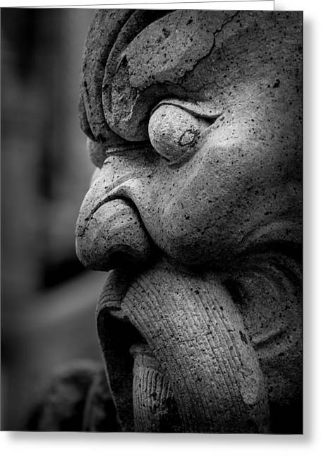 Asien Photographs Greeting Cards - Stone Head Sculpture at the Temple of the Emerald Buddha - Bangkok Thailand Greeting Card by Colin Utz