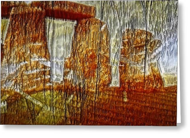 Henge Greeting Cards - Stone Henge Art Greeting Card by Linda Phelps