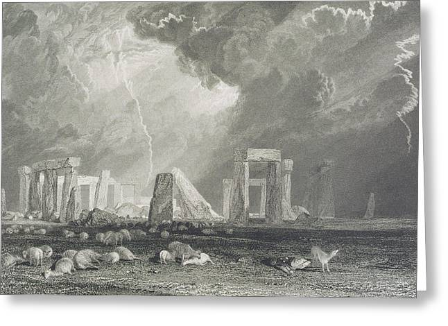 White Drawings Greeting Cards - Stone Henge Greeting Card by Joseph Mallord William Turner