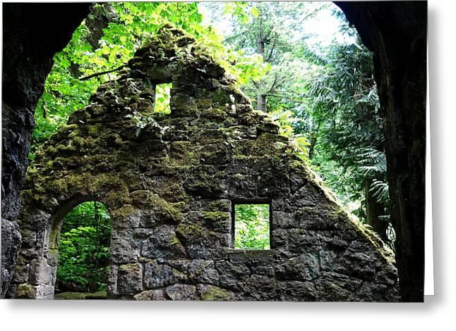 Stone House Doorway Greeting Card by Lizbeth Bostrom