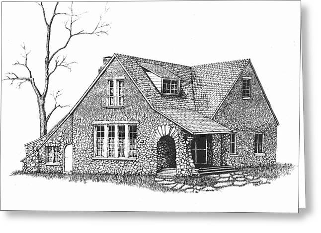 Stone House Drawings Greeting Cards - Stone House Pen and Ink Greeting Card by Renee Forth-Fukumoto