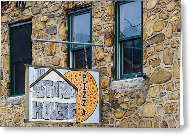 Old Pizza House Greeting Cards - Stone House Pizza Greeting Card by Carolyn Marshall