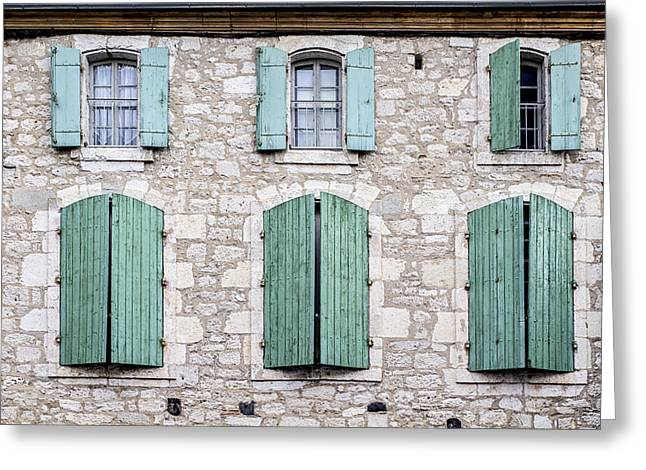 Stone House Greeting Cards - Stone House Windows Greeting Card by Nomad Art And  Design