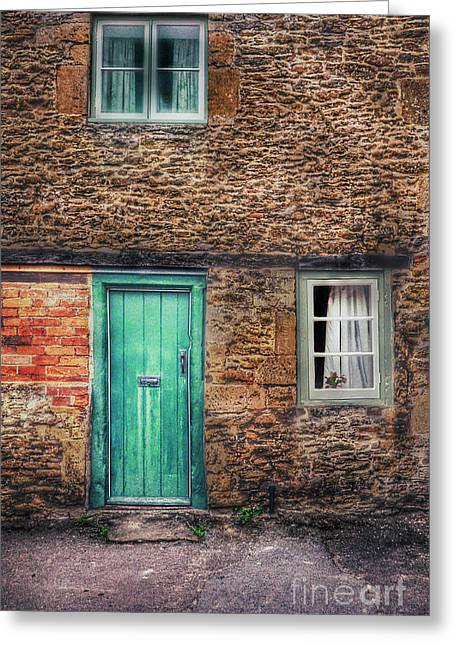 Stone House With Green Door Greeting Card by Jill Battaglia