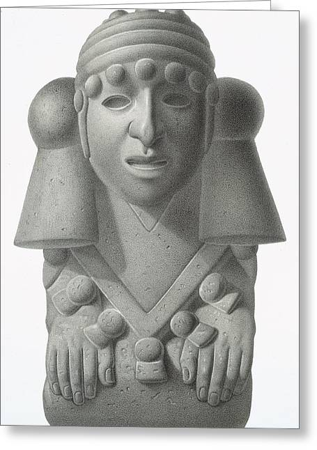 Sculptures Greeting Cards - Stone Idol Of The Rain God Cocijo Greeting Card by Johann Friedrich Maximilian von Waldeck