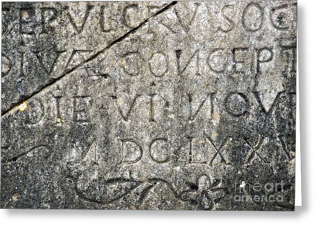 Flagstone Greeting Cards - Stone inscription Greeting Card by Sinisa Botas