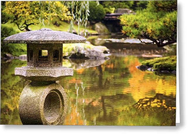 Trees Reflecting In Water Greeting Cards - Japenese Garden Greeting Card by Kyle Wasielewski