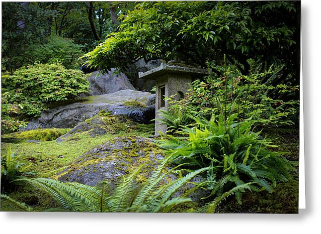 The Hills Greeting Cards - Stone Lantern on the Hill Greeting Card by Andrew Pacheco