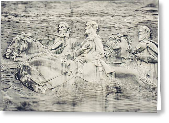 Confederate Monument Greeting Cards - Stone Mountain Georgia Confederate Carving Greeting Card by Lisa Russo