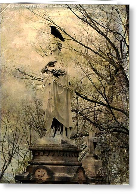 Ravens In Graveyard Greeting Cards - Stone Perch Greeting Card by Gothicolors Donna Snyder