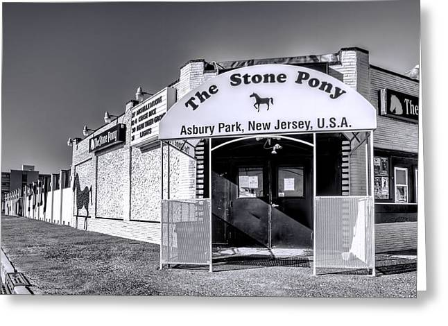Ocean Art Photography Greeting Cards - Stone Pony Black and White Greeting Card by Geraldine Scull