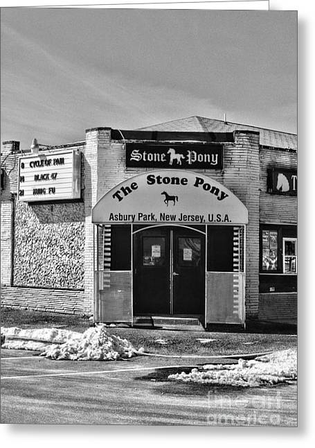 The Jersey Shore Greeting Cards - Stone Pony in Black and White Greeting Card by Paul Ward