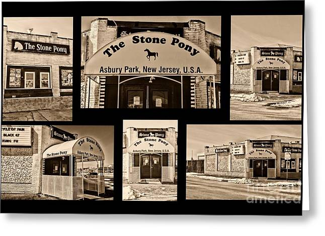 Retro-montage Greeting Cards - Stone Pony Montage Greeting Card by Paul Ward
