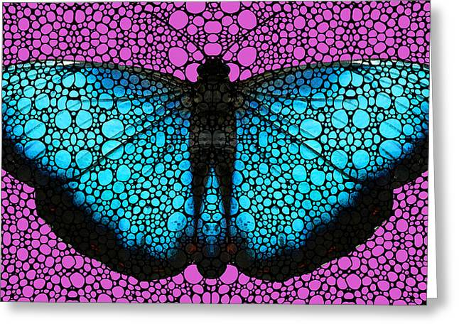(sharon Stone) Greeting Cards - Stone Rockd Butterfly 2 By Sharon Cummings Greeting Card by Sharon Cummings