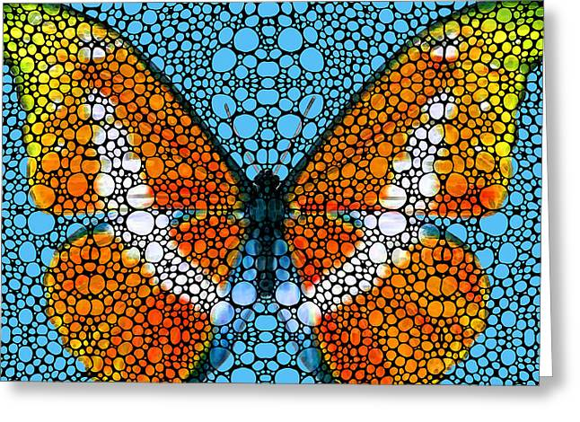 Stone Mixed Media Greeting Cards - Stone Rockd Butterfly By Sharon Cummings Greeting Card by Sharon Cummings