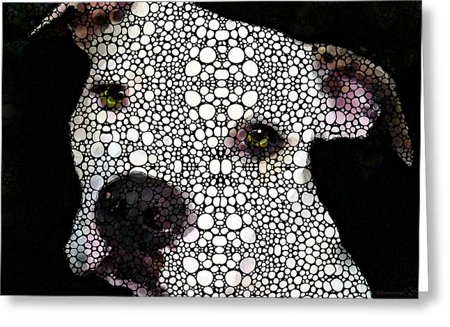 Dog Prints Mixed Media Greeting Cards - Stone Rockd Dog by Sharon Cummings Greeting Card by Sharon Cummings