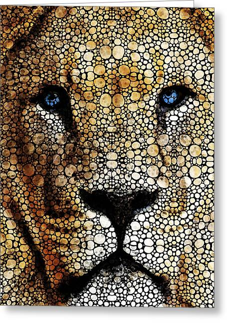 Game Mixed Media Greeting Cards - Stone Rockd Lion 2 - Sharon Cummings Greeting Card by Sharon Cummings
