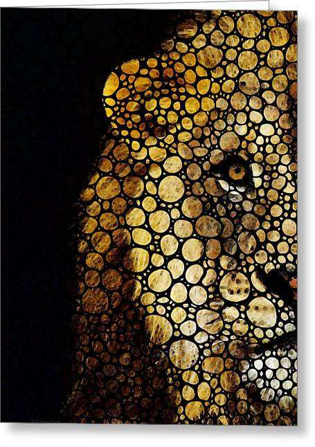 Penn Digital Art Greeting Cards - Stone Rockd Lion - Sharon Cummings Greeting Card by Sharon Cummings