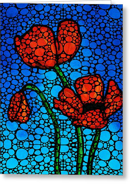 Mosaic Mixed Media Greeting Cards - Stone Rockd Poppies by Sharon Cummings Greeting Card by Sharon Cummings
