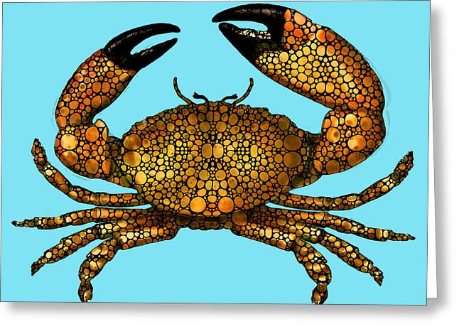 Miami Mixed Media Greeting Cards - Stone Rockd Stone Crab by Sharon Cummings Greeting Card by Sharon Cummings