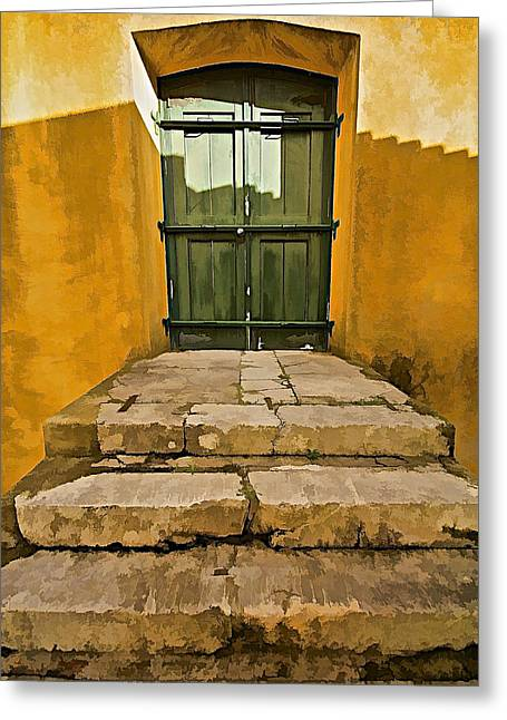 Medieval Entrance Greeting Cards - Stone Stair Entranceway  Greeting Card by David Letts