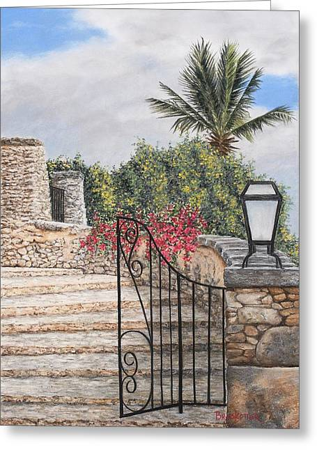 Brick Wall Pastels Greeting Cards - Stone Staircase Greeting Card by Angela Bruskotter