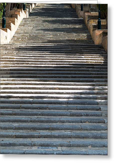 Stepping Stones Greeting Cards - Stone Stairs Greeting Card by Chay Bewley
