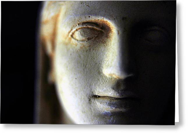 Virtuous Greeting Cards - Stone Statue Closeup Greeting Card by Glenn McGloughlin