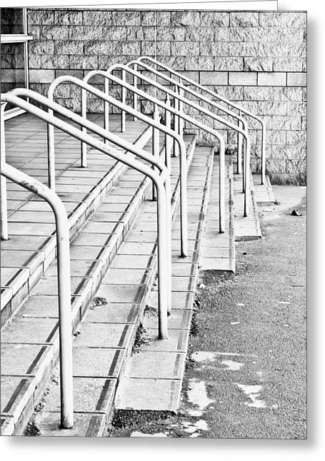 Stadium Design Greeting Cards - Stone steps and railings Greeting Card by Tom Gowanlock