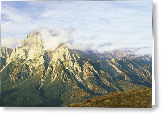 European Alps Greeting Cards - Stone Structure With A Mountain Range Greeting Card by Panoramic Images