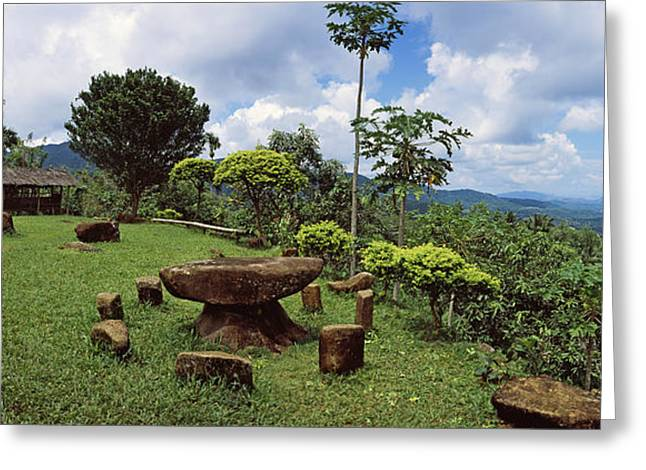Stone Table With Seats, Flores Island Greeting Card by Panoramic Images