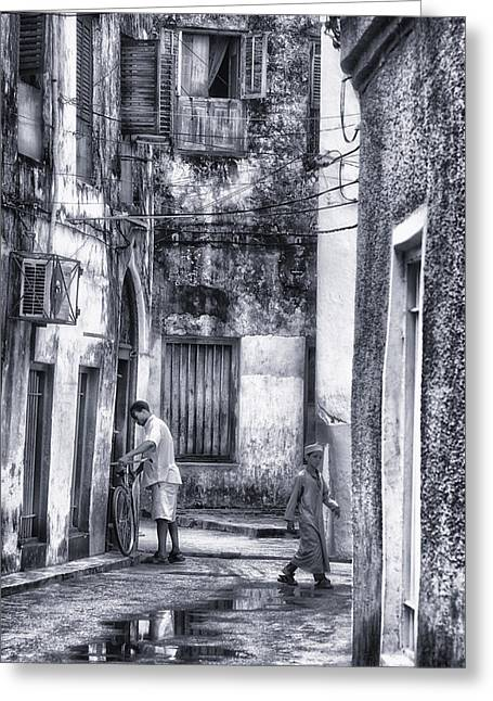 Teen Town Greeting Cards - Historic Stone Town Alley in Zanzibar Island Greeting Card by Nasser Studios