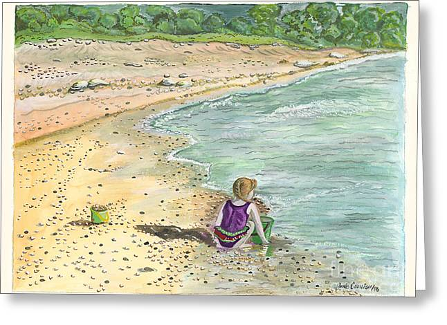 Blue Green Water Greeting Cards - Stone Treasures Greeting Card by Janis  Cornish