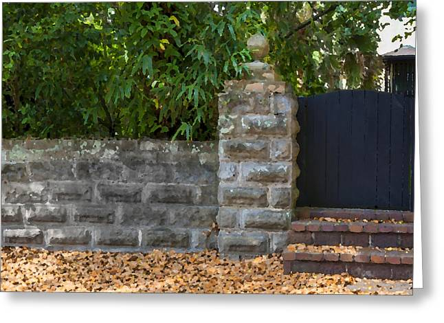 Stone Wall and Gate Greeting Card by Rich Franco