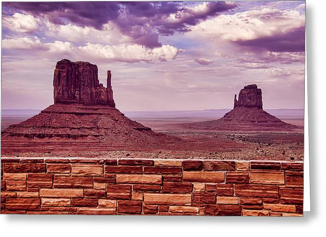 Stones Photographs Greeting Cards - Stone Wall Monument Valley Greeting Card by Garry Gay