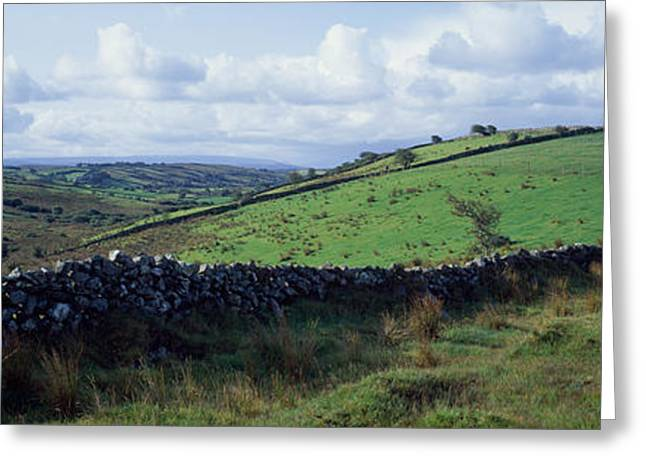 Rolling Stone Greeting Cards - Stone Wall On A Landscape, Republic Greeting Card by Panoramic Images