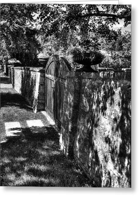 Southern Indiana Greeting Cards - Stone Wall Shadows BW Greeting Card by Tri State Art
